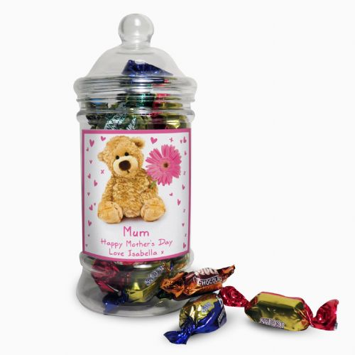 Personalised Teddy Flower Toffee Jar